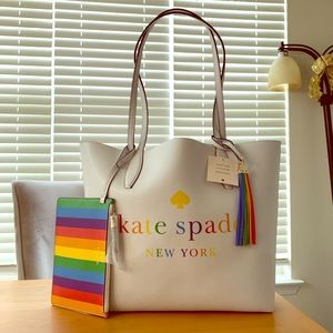 NWT Kate Spade Arch Rainbow Logo Reversible Tote